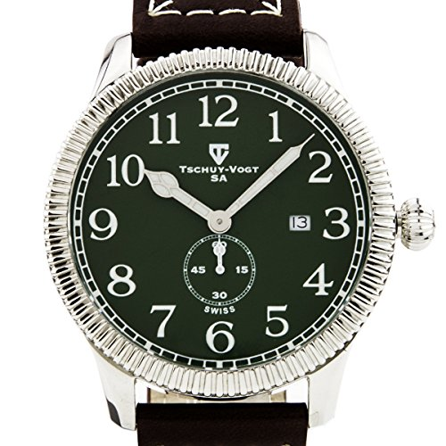Tschuy-Vogt A24 Cavalier Mens Watch - Brown Leather Strap, Silver Case, Green Dial