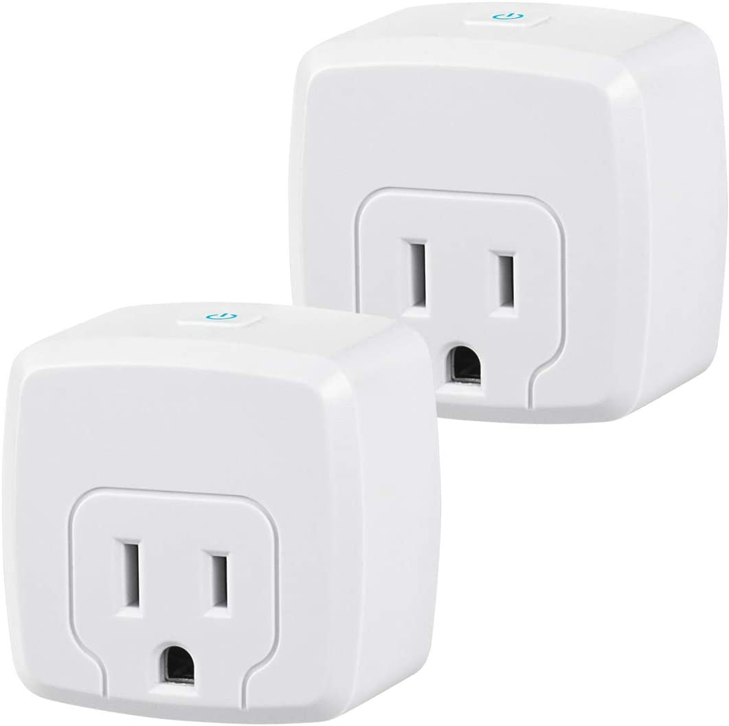 HBN Mini Smart WiFi Plug, Heavy Duty Wi-Fi Timer with One Grounded Outlet, Wireless Remote Control by App Compatible with Alexa/Google Home Assistant 2.4 GHz Network only, ETL Listed (2 Pack)