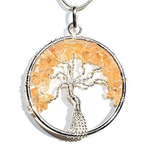 """Zenergy Gems Charged Natural Himalayan Citrine Tree of Life Pendant + 20"""" 1mm Snake Chain - Psychic Protection (Citrine)"""