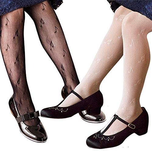 Girls Lace Tights - Girls Mesh Fishnet Lace Stocking Legging Tight Musical Notes Pattern Black White (2 pack Black & White, L height 47