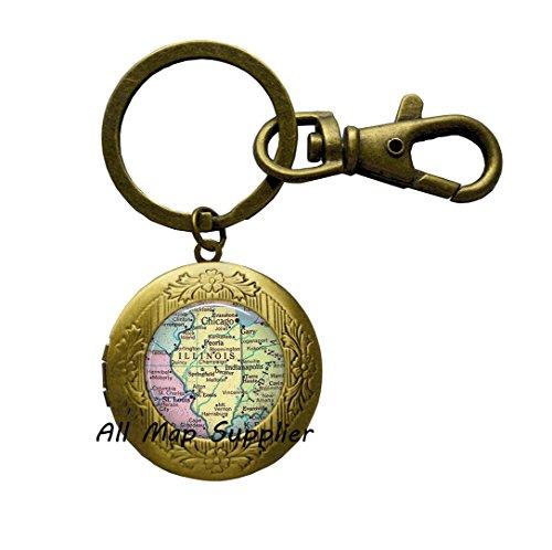 Charming Locket Keychain,Illinois map Locket Key Ring, Illinois map Jewelry Illinois Locket Keychain Illinois Locket Key Ring Illinois State map Locket Key Ring,A0203 (2)