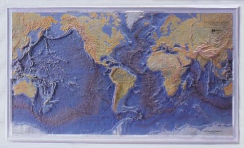 Ocean Floor Raised Relief Map (OCEAN FLOOR Raised Relief Map with Gold Plastic Frame)