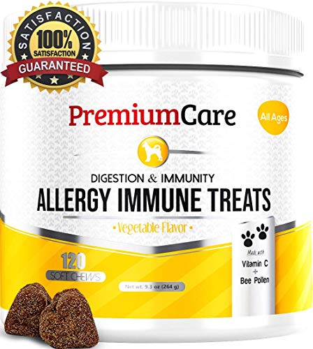 Allergy Relief Immune Supplement For Dogs - Treats Seasonal & Food Allergies, Skin Itch, Hot Spots And More - Promotes Skin & Coat, Improves Digestion, & Enhances Gut Health - 120 Chew Treats (Best Relief For Itchy Skin)