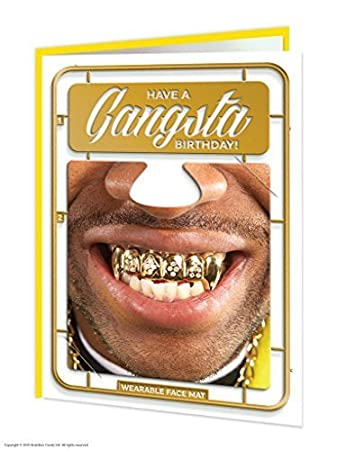 Funny Humorous Gangsta Birthday Card With Wearable Face Mat