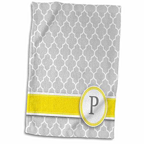 - 3D Rose Your Name Initial Letter P-Monogrammed Grey Quatrefoil Pattern-Personalized Yellow Gray Towel 15