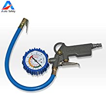 Auto Safety Air Inflator with 2-inch Pressure Gauge | 1/4-inch Male Thread Plug and Rim Cover Extension Cap