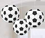2 x Amscan Soccer 3 x Goal Birthday Party Paper Lanterns Decoration (3 Piece), Black/White, 11.9 x 11''