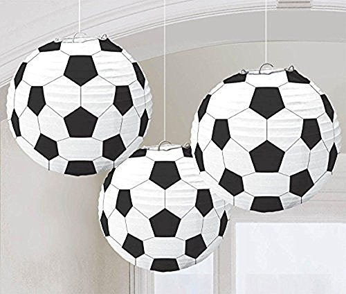 2 x Amscan Soccer 3 x Goal Birthday Party Paper Lanterns Decoration (3 Piece), Black/White, 11.9 x 11'' by Amscan
