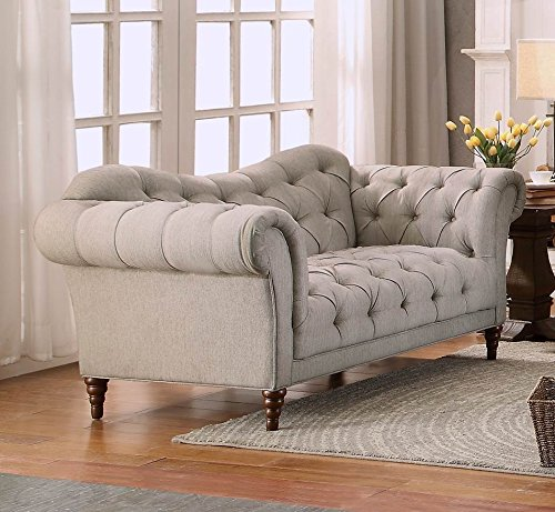 - Homelegance St. Claire Traditional Style Loveseat with Tufting and Rolled Arm Design, Brown/Almond