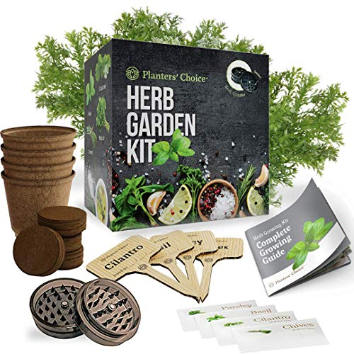 Planters' Choice Organic Herb Growing Kit + Herb Grinder - Complete Kit to Easily Grow 4 Herbs from Seed (Basil, Cilantro, Chives & Parsley) with Comprehensive Guide - Unique Gift (Herbs) (Garden Kit Herb Kitchen)