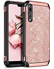 BENTOBEN Huawei P20 Pro Case,Huawei P20 Pro Phone Case, Shockproof Anti-scratch 2 in 1 Hybrid Hard PC Soft TPU Floral Peony Pattern Protective Cute Case for Huawei P20 Pro 2018