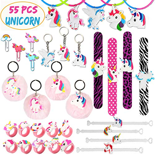 Aitey Unicorn Party Supplies Bulk, Rainbow Birthday Easter Party Favors Keychains, Bracelets, Rings, Necklace, Wristband, Novelty Classroom Prizes for Kids, Girls (55 Packs) -