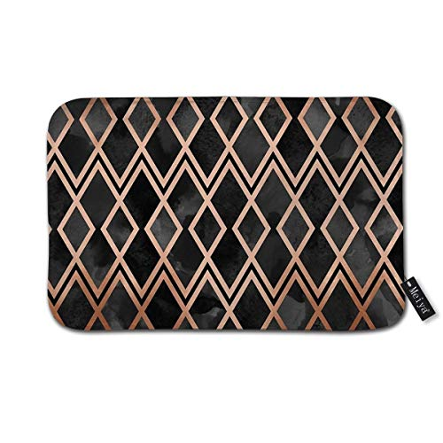 Copper & Black Geo Diamonds Doormat Floor Mat with Non-Slip Backing Bath Mat Rug Funny Home Decor 23.6