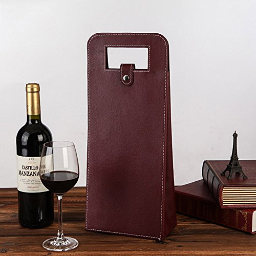 LANGUGU Faux Leather Wine Beer Bottle Protector Wine Tote Carrier Bag Reusable Gift Bag Single Wine Champagne Bottle Carrier Case Portable Travel Accessory (Wine Red)