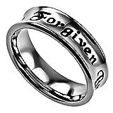 Christian Rings for Women, Forgiven By God, John 15:13 Christian Verse, Stainless Steel