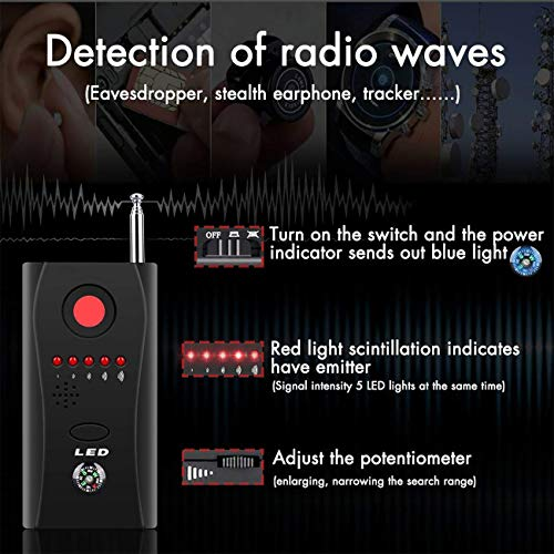 RF Signal Detector, Anti-Spy Hidden Camera Laser RF Signal Bug Detector GSM Device Finder