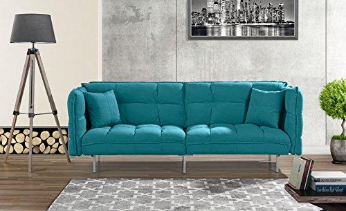 Living Room Modern Futon Frame - Modern Plush Tufted Velvet Fabric Splitback Living Room Sleeper Futon (Sky Blue)