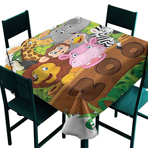 DONEECKL Polyester Tablecloth Zoo Happy Animals Fresh Trees Easy to Clean W54 xL54 ()