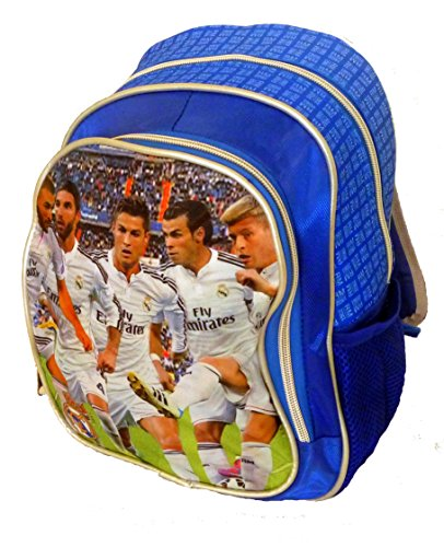 """BEAUTIFUL (!!) Official FC Real Madrid Christiano Ronaldo & Players DOUBLE Fill 12""""x9"""" KINDERGARDEN Backpack"""