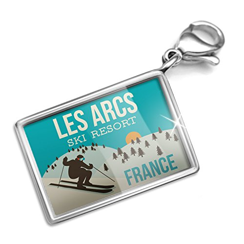 Clip on Charm & Bracelet Set Les Arcs Ski Resort - France Ski Resort Lobster Clasp (Arc Ski)