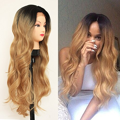 QD-Tizer Blonde Ombre Glueless Lace Front Wigs 2 Tone Color Black Roots Blonde Body Wave Heat Resistant Synthetic Hair Wigs for Women 26 (Womens Heat Waves)