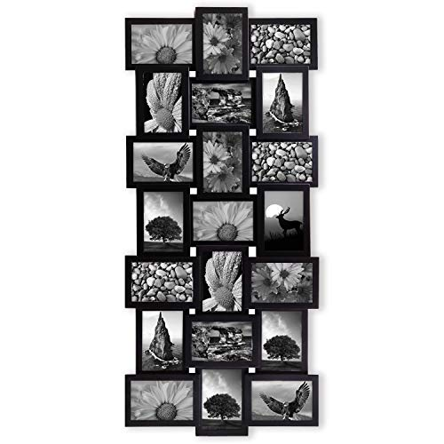 - Jerry & Maggie - Photo Frame 17x39 Black Picture Frame Selfie Gallery Collage Wall Hanging for 6x4 Photo - 21 Photo Sockets - Wall Mounting Design