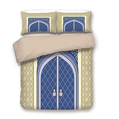 iPrint Duvet Cover Set,Back of Khaki,Moroccan,Medieval Door with Ottoman Architecture Persian Influences Arabic Culture Design,Blue Beige,Decorative 3 Pcs Bedding Set by 2 Pillow Shams,Full -