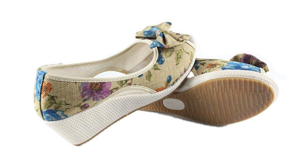 Tianrui Crown Women And Ladies Print Wedge Sandal Shoes Platform Sandals B073D44CMP 3 B(M) US|Blue Print