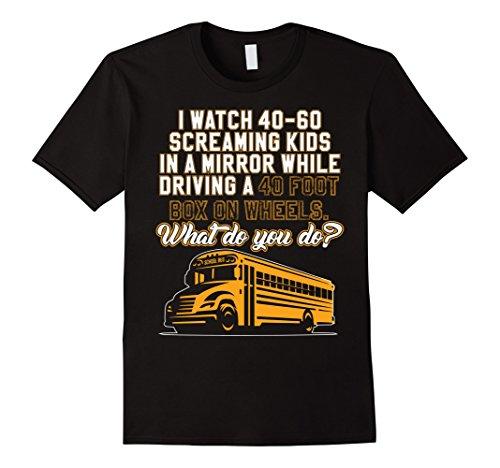 Mens School Bus Driver T-Shirt for Men Or Women Tee Large Black