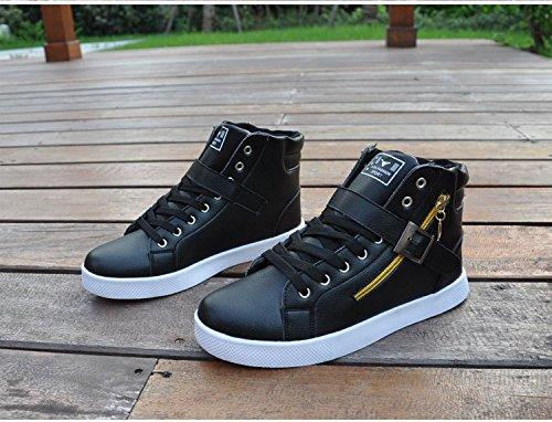 Popolari Scarpe Alte Scarpe Da Uomo Fibbia Canvas Lace-up Cerniera Appartamenti Comode Sneaker Board Trainer Bianco
