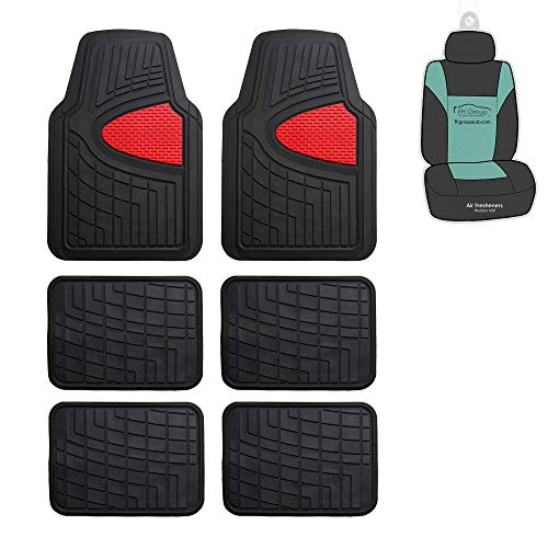FH Group F11311 Premium Tall Channel Rubber Three-Row Floor mats w. Free Air Freshener, Red/Black Color-Fit Most Car, Truck, SUV, or Van ()