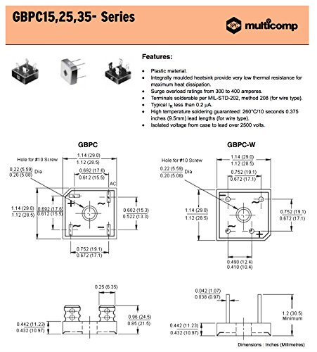 MULTICOMP GBPC3506 - Bridge Rectifier Diode, Single, 600V, 35A, Module, 1.1 V, 4 Pins, PowerDrive 2 Charger, Mac Charger (Pack of 4) by Multicomp (Image #2)