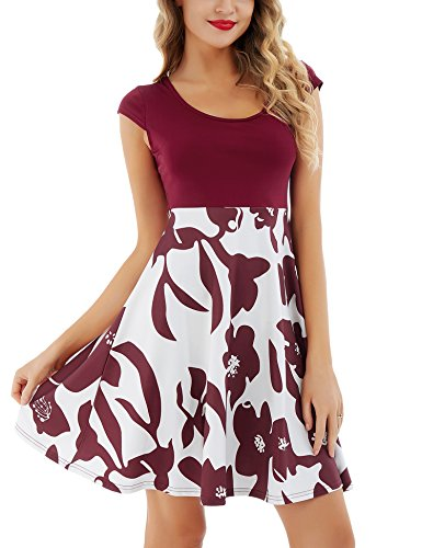 Uniboutique Women's Floral Print Vintage Cap Sleeve Puffy Swing Casual Party Dress -