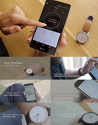 Nevo Hybrid Smart Watch for Android or IOS Phone,Black Case, Brown Strap by Nevo (Image #7)