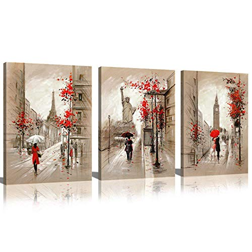 Romantic Oil Paintings - CANVASZON Paris Decor Canvas Prints Paris Street Painting Eiffel Tower Oil Painting Romantic Couple Walking in Rain New York Wall Art for Living Room Decoration