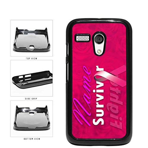 Custom Personalized Name Pink Survivor Fight Breast Cancer Plastic Phone Case Back Cover Moto G