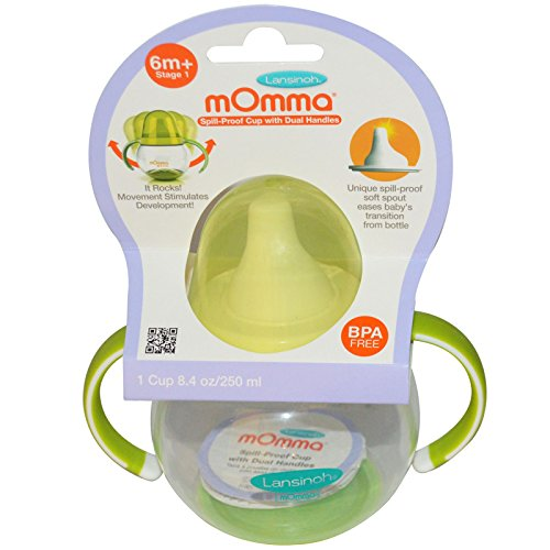 Lansinoh, mOmma, Spill-Proof Cup with Dual Handles, 1 Cup, 8.4 oz (250 ml) - 2pc