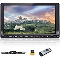 """Double 2 DIN Car Audio Stereo Radio - Ehotchpotch 7 """"Touch Screen Car DVD CD Video Music Player Bluetooth GPS Navigation Steering Wheel Control Car PC With Rear View Camera & 8G SD Map Card"""