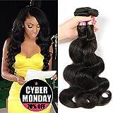 Bobofun 8A Peruvian Body Wave 3 Bundles Human Hair 100% Unprocessed Peruvian Virgin Hair Weave Extension Natural Black Color 22 24 26 inch