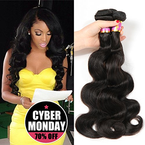 Bobofun 8A Peruvian Body Wave 3 Bundles Human Hair 100% Unprocessed Peruvian Virgin Hair Weave Extension Natural Black Color 22 24 26 inch by BEOVVI