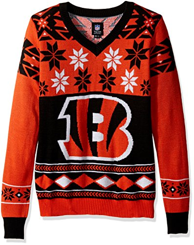 CINCINNATI BENGALS WOMENS BIG LOGO V-NECK SWEATER EXTRA LARGE by Forever Collectibles
