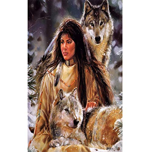(Pengy Crystal Rhinestone Diamond Embroidery Paintings Pictures Arts Craft for Home Wall Decor 5D DIY Home Decor Gift Wolf Print )