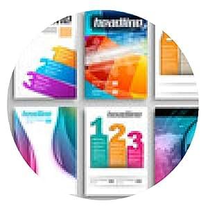 alfombrilla de ratón Conjunto de tarjetas informativas, plantillas web. folleto de soluciones - ronda - 20cm