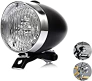 Horuhue 160° Visual Angle Vintage Bullet Bicycle Lamp 3 LED Headlight with Bracket