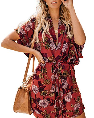Necooer Womens Casual Floral Print Kimono midi Dress V Neck Short Sleeve Tie Waist Summer Dress (Large, Red-1)