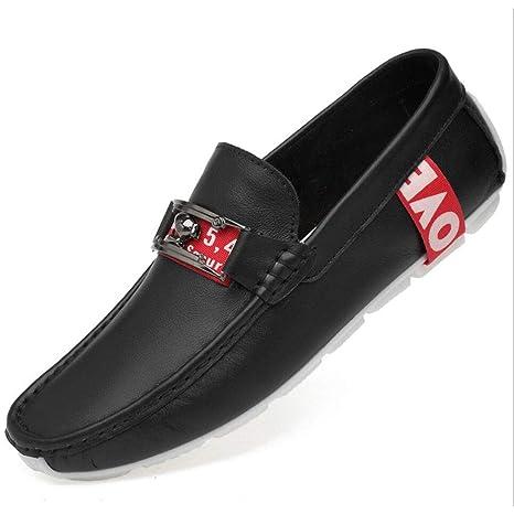 YAN Zapatos de Hombre Cuero Mocasines y Puntiagudos de otoño & Invierno Zapatos de conducción de