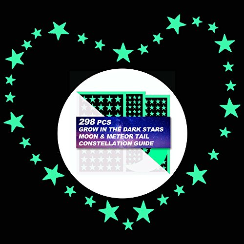 Glow in The Dark Stars Wall Stickers, 298 Adhesive Stickers Moon Bright Sky Kids Bedding Room Gift, Wall Decals, Illuminate Kids Room ()