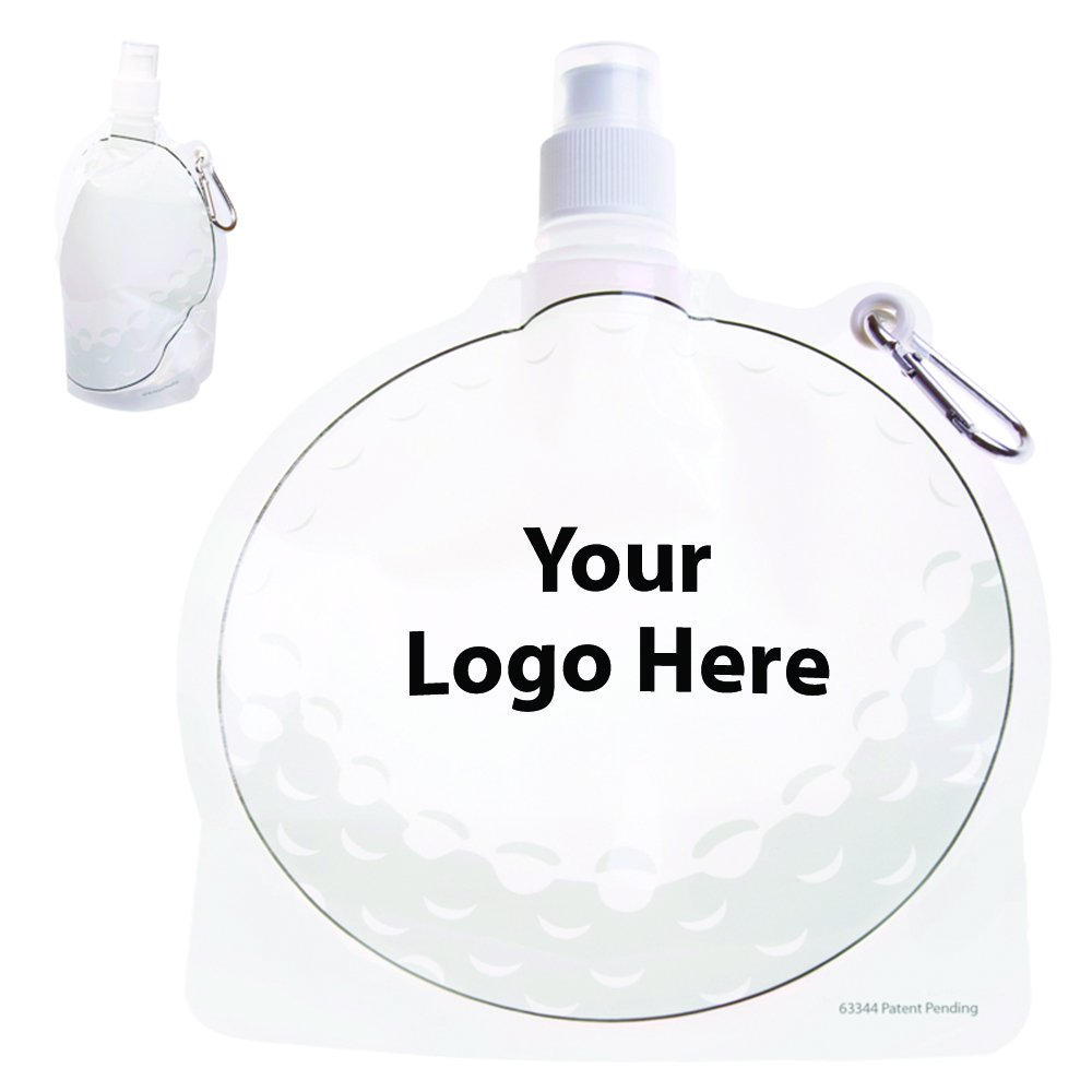 HydroPouch! 24 Oz. Golf Ball Collapsible Water Bottle Patented - 100 Quantity - $3.40 Each - PROMOTIONAL PRODUCT / BULK / BRANDED with YOUR LOGO / CUSTOMIZED