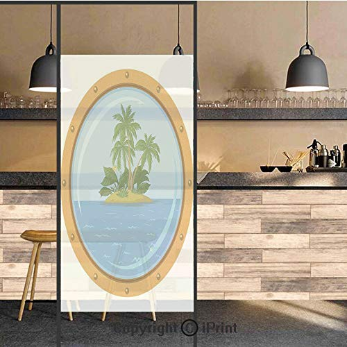 3D Decorative Privacy Window Films,Graphic of Tropic Island View from The Bronze Ship Window with Palm Trees,No-Glue Self Static Cling Glass Film for Home Bedroom Bathroom Kitchen Office 24x71 Inch ()