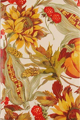 Autumn Harvest Foliage, Fruits and Grains Vinyl Flannel Back Tablecloth (60